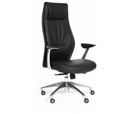 Компьютерное кресло Chairman Vista черная экокожаКомпьютерные кресла<br>У представленной модели предусмотрены: регулировка высоты кресла, наклон спинки с фиксацией, регулировка жесткости качания. <br><br> <br>Материал подлокотников: металл с накладками из пластика.<br> <br>Материал крестовины: хромированный металл.<br>