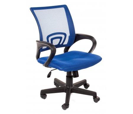 Кресло Liam синееКомпьютерные кресла<br>Подлокотники, пятилучье и каркас кресла выполнены из высококачественного пластика. Обивка - прочная сетчатая ткань. <br>Система наклона спинки (тип механизма качания) - TOP-GUN на шариковых подшипниках, с фиксацией в рабочем положении. <br> <br>Пластиковые ролики (стандарт BIFMA 5.1, США).<br> <br> <br>  Материал подлокотников: пластик.<br> <br>  Материал крестовины: пластик.<br> <br>  Материал обивки: ткань-сетка.<br> <br>  Механизм качания: есть.<br> <br> <br> <br>  Габариты упаковки: длина - 63 см, ширина - 25 см, высота - 60 см.<br>