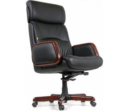 Компьютерное кресло Chairman 417Компьютерные кресла<br>Классическоеофисное кресло CH 417. Комплектуется механизмом качания со смещенной осью (имеет винт регулировки жесткости качания, рычаг газлифта, рычаг фиксации качания). <br> <br>  Материал подлокотников: кожа с деревянными вставками.<br><br>  Материал крестовины: металл с накладками из натурального дерева.<br><br>  Цвет дерева: темный орех.<br><br>  Материал обивки: кожа (cow).<br><br>  Объем упаковки: 0,37 куб. м.<br><br>  Вес: 38,5 кг.<br>