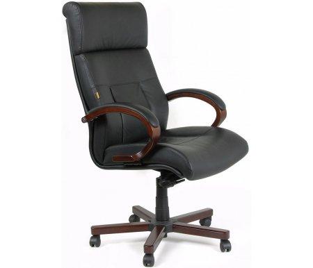 Компьютерное кресло Chairman 421Компьютерные кресла<br>Материал подлокотников: дерево с кожаными накладками.<br><br>  Материал крестовины: металл с накладками из натурального дерева.<br><br>  Цвет дерева: темный орех.<br><br>  Материал обивки: кожа (cow).<br><br>  Механизм качания: есть.<br><br>  Вес: 33,2 кг.<br><br>  Объем: 0,33 куб. м.<br><br><br><br>  <br><br>Респектабельное, комфортное кожаное офисное кресло CH 421. Легкий изгиб края сидения, направленный вниз, обеспечивает дополнительный комфорт. <br> <br>  <br> <br> <br>Кресло поставляется в разобранном виде.<br>