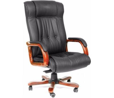 Компьютерное кресло Chairman 653 черноеКомпьютерные кресла<br>Материал подлокотников:дерево с кожаными накладками. <br><br> <br>Материал крестовины:металл с накладками из натурального дерева.<br> <br>Цвет дерева:темный орех.<br> <br>Механизм качания:есть.<br> <br>Объем упаковки: 0,33 куб. м.<br> <br>Вес: 28,5 кг.<br>