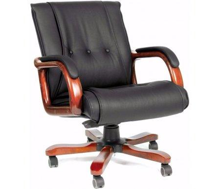 Компьютерное кресло Chairman 653 МКомпьютерные кресла<br>Натуральные материалы делают офисное кресло CH 653 М не только изысканным, но и комфортным. Классическая прошивка спинки прекрасно сочетается с деревянными элементами. <br> <br>  <br> <br><br><br>  Материал подлокотников: дерево с кожаными накладками.<br><br>  Материал крестовины: металл с деревянными накладками.<br><br>  Материал обивки: кожа (cow).<br><br>  Цвет дерева: темный орех.<br><br>  Механизм качания: есть.<br><br>  Объем упаковки: 0,25 куб. м.<br><br>  Вес: 26,9 кг.<br><br><br><br>  <br><br> <br>Кресло поставляется в разобранном виде.<br>