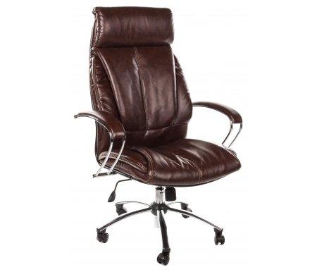 Кресло Randolf экокожа / хром коричневоеКомпьютерные кресла<br>Каркас кресла - цельный стальной, пятилучье - хромированный металл. <br> <br>  Материал обивки: перфорированная экокожа.<br> <br>  Материал подлокотников: металл, экокожа.<br> <br>  Механизм качания: есть.<br>  <br>  Обивка выполнена из инновационного экологически чистого материала, производимого из натуральной кожи, армированного нейлоновой нитью, имеющего волокнистую натуральную основу и естественную полиуретановую поверхность, ввиду чего, данный материал не уступает натуральной коже по эластичности, прочности и износостойкости. Благодаря наличию перфорации обеспечиваются уникальные дышащие свойства, не уступающие ткани и значительно превосходящие дышащие свойства натуральной кожи.<br> <br>   <br>    <br>   <br> <br>  Подлокотники из стали, хромированные, с мягкими накладками. Система наклона спинки (тип механизма качания) - TOP-GUN на шариковых подшипниках, с фиксацией в рабочем положении. Пластиковые ролики (стандарт BIFMA 5.1, США).<br> <br>   <br>    <br>   <br> <br>  Ширина между ногами - 65 см.<br>