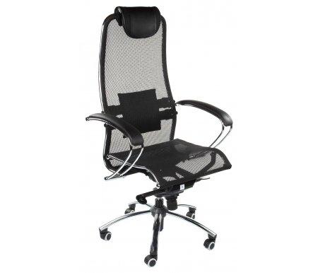 Кресло SamКомпьютерные кресла<br>Кресло имеет полиуретановые ролики (обрезиненные). Благодаря этому: не оставляет следов, не царапает пол и бесшумно при передвижении. <br> <br>  <br> <br> <br>Материал сиденья - KEVLAR (кевларовая нить).<br> <br>Изголовье - перфорированная экокожа с нейлоновой нитью.<br> Материал подлокотников: металл, экокожа. <br>Материал крестовины:хромированный металл.<br> <br>Материал обивки:ткань-сетка (кевларовая нить).<br> <br>Механизм качания: есть.<br>