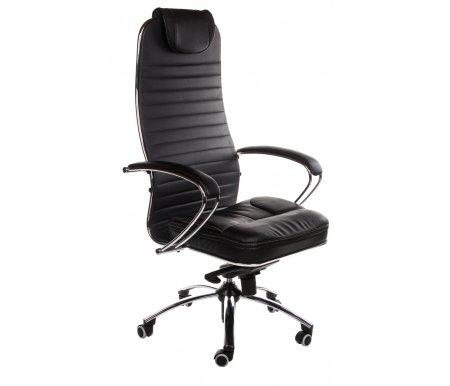 Кресло Sam K черныйКомпьютерные кресла<br>Кресло имеет полиуретановые ролики (обрезиненные). Благодаря этому: не оставляет следов, не царапает пол и бесшумно при передвижении.<br> <br> <br>   <br>    Материал подлокотников: металл, натуральная кожа.<br>   <br>    Материал крестовины: хромированный металл.<br>   <br>    Материал обивки: экокожа.<br>   <br>    Механизм качания: есть.<br>