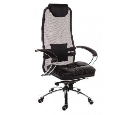Кресло Sam S черныйКомпьютерные кресла<br>Высота кресла минимальная: 120 см.<br> Кресло имеет полиуретановые ролики (обрезиненные). Благодаря этому: не оставляет следов, не царапает пол и бесшумно при передвижении. <br> <br>   <br>    Материал подлокотников: металл, натуральная кожа.<br>   <br>    Материал крестовины: хромированный металл.<br>   <br>    Материал обивки: ткань-сетка (кевларовая нить).<br>   <br>    Материал сиденья: экокожа.<br>   <br>    Механизм качания: есть.<br>