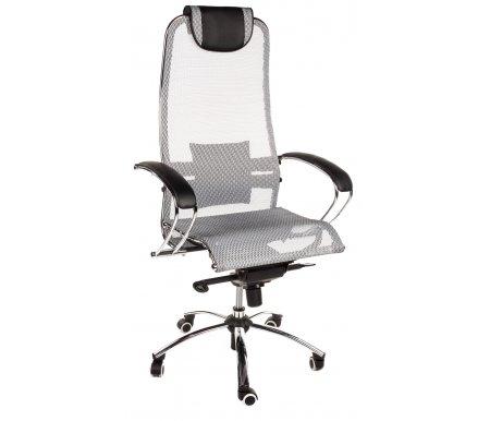 Кресло Sam сероеКомпьютерные кресла<br>Материал подлокотников: металл, экокожа. <br>Материал крестовины:хромированный металл.<br> <br>Материал обивки:ткань-сетка (кевларовая нить).<br> <br>Механизм качания: есть. <br>  <br> <br>  Кресло имеет полиуретановые ролики (обрезиненные). Благодаря этому: не оставляет следов, не царапает пол и бесшумно при передвижении. <br>    Материал обивки - KEVLAR (кевларовая нить).<br>   <br>    Дополнительно можно приобрестичехол для кресла.<br>