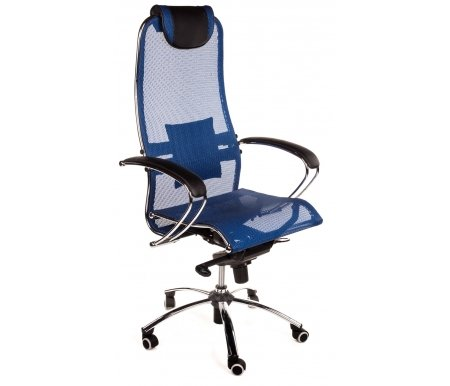 Кресло Sam синееКомпьютерные кресла<br>Высота кресла минимальная: 120 см.<br> Кресло имеет полиуретановые ролики (обрезиненные). Благодаря этому: не оставляет следов, не царапает пол и бесшумно при передвижении. <br> <br>   <br>    Материал подлокотников: металл, экокожа.<br>   <br>    Материал крестовины: хромированный металл.<br>   <br>    Материал обивки: ткань-сетка (кевларовая нить).<br>   <br>    Механизм качания: есть.<br>   <br> <br>  Дополнительно можно приобрестичехол для кресла.<br>