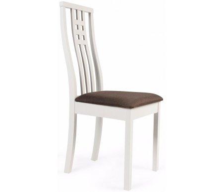 Стул Betty белыйДеревянные стулья<br>Каркасстула BETTYизготовлен из массива гевеи, цвет каркаса - белый. Обивка выполнена из вельвета темно-коричневого цвета цвета.<br><br>Ширина сиденья: 46 см<br>Глубина сиденья: 57 см<br>Высота спинки: 103 см<br>Материал каркаса: массив гевеи<br>Цвет каркаса: белый<br>Материал обивки: ткань<br>Цвет обивки: темно-коричневый