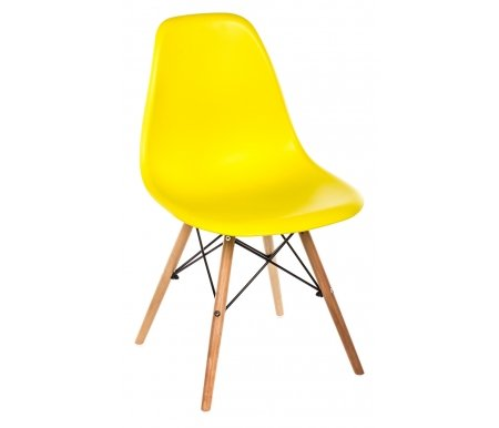 Стул Eames PC-015 желтый ножки деревоДеревянные стулья<br>Расстояние между передними ножками 42 см. <br>Расстояние между ножками сбоку 42 см.<br>