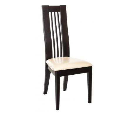 Стул NigmaДеревянные стулья<br>Стул Nigma изготовлен в Малайзии из массива гевеи, что гарантирует высокую прочность и надежность стула. Цветовое решение этого стула - каркас цвета венге и обивка из бежевого кожзаменителя. Сиденье мягкое, комфортное, спинка удобная, ненавязчиво повторяет естественные изгибы тела. Обивка немаркая, легко поддается чистке. Стул Nigma будет прекрасно смотреться как в жилых комнатах, так и в ресторанах, клубах, гостиницах.<br>