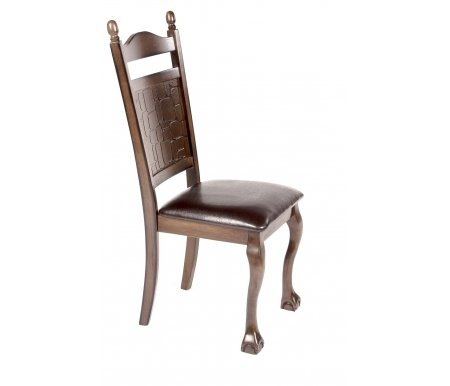 Стул CCR S-466APU-EДеревянные стулья<br>Стул выполнен из массива гевеи. Спинка украшена резьбой с имитацией камня.<br><br>Ширина: 60 см<br>Глубина: 48,1 см<br>Высота: 109 см<br>Материал каркаса: массив гевеи<br>Цвет каркаса: тёмно-коричневый (GR MINDI#1)<br>Материал обивки: экокожа