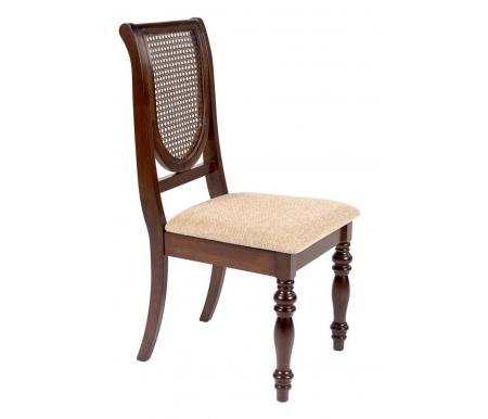 Стул VictoriaДеревянные стулья<br>Элегантный стул с мягким сиденьем и спинкой из натурального ротанга выполнен в классическом стиле. <br><br> <br>Отлично сочетается состолом Lifestyle.<br><br>Ширина: 48,5 см<br>Глубина: 46,8 см<br>Высота: 97,5 см<br>Материал каркаса: массив гевеи<br>Цвет каркаса: тобакко<br>Материал спинки: натуральный ротанг