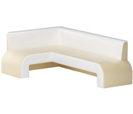Купить Кухонный диван Mebelico, Кармен угловой экокожа бежевый-белый левый, Россия, бежевый / белый