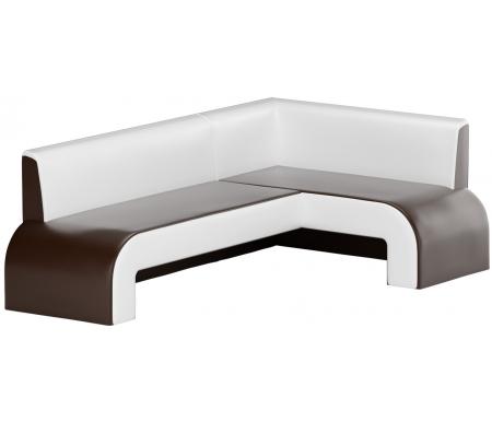 Купить Кухонный диван Mebelico, Кармен угловой экокожа коричнево-белый правый, Россия, коричневый / белый