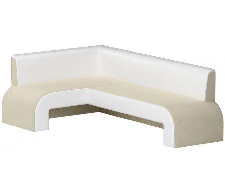 Купить Кухонный диван Mebelico, Кармен угловой микровельвет бежевый-белый левый, Россия, бежевый / белый