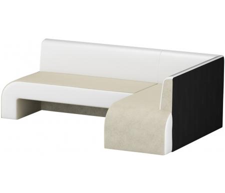 Кухонный диван Mebelico, Кармен угловой микровельвет бежевый-белый правый, Россия, бежевый / белый  - Купить
