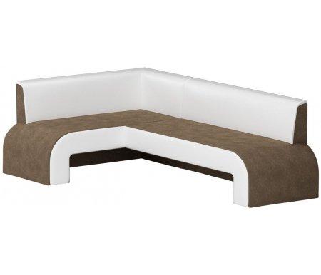 Купить Кухонный диван Mebelico, Кармен угловой микровельвет коричнево-белый левый, Россия, коричневый / белый