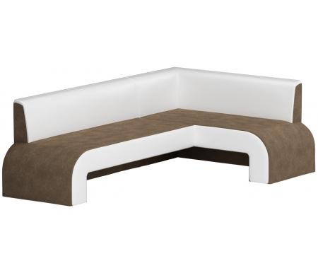 Купить Кухонный диван Mebelico, Кармен угловой микровельвет коричнево-белый правый, Россия, коричневый / белый