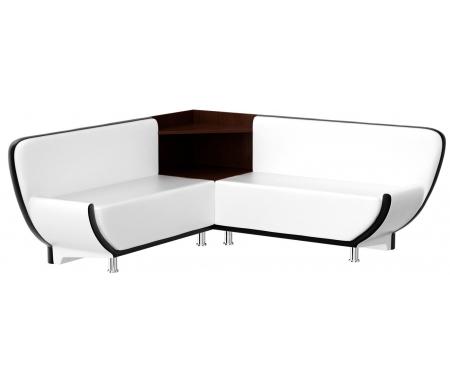 Купить Кухонный диван Mebelico, Лотос угловой экокожа белый-черный правый, Россия, белый / черный
