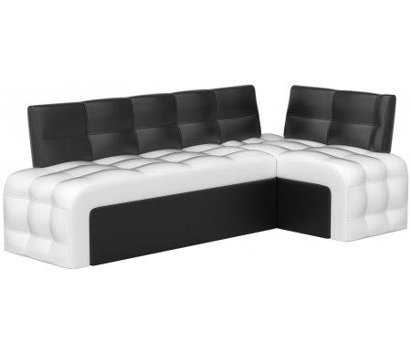 Купить Кухонный диван Mebelico, Люксор угловой экокожа бело-черный правый, Россия, белый / черный