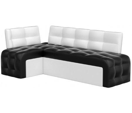 Купить Кухонный диван Mebelico, Люксор угловой экокожа черно-белый левый, Россия, черный / белый