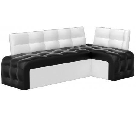 Купить Кухонный диван Mebelico, Люксор угловой экокожа черно-белый правый, Россия, черный / белый