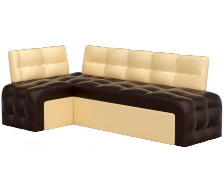 Купить Кухонный диван Mebelico, Люксор угловой экокожа коричнево-бежевый левый, Россия, коричневый / бежевый