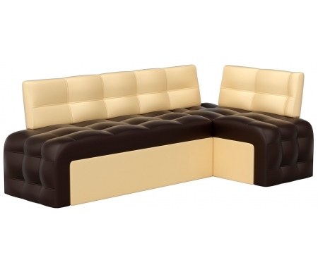 Купить Кухонный диван Mebelico, Люксор угловой экокожа коричнево-бежевый правый, Россия, коричневый / бежевый