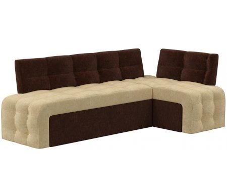 Купить Кухонный диван Mebelico, Люксор угловой микровельвет бежево-коричневый правый, Россия, бежевый / коричневый