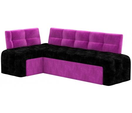 Купить Кухонный диван Mebelico, Люксор угловой микровельвет черно-фиолетовый левый, Россия, черный / фиолетовый