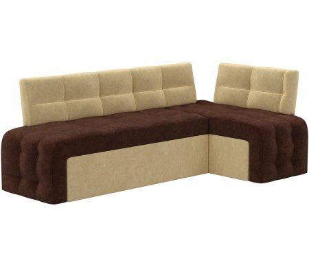 Купить Кухонный диван Mebelico, Люксор угловой микровельвет коричнево-бежевый правый, Россия, коричневый / бежевый