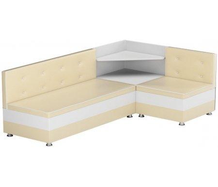Купить Кухонный диван Mebelico, Милан угловой экокожа бежевый-белый правый, Россия, бежевый / белый