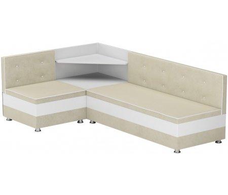 Купить Кухонный диван Mebelico, Милан угловой микровельвет бежевый-белыйый левый, Россия, бежевый / белый