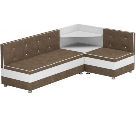 Купить Кухонный диван Mebelico, Милан угловой микровельвет коричнево-белый правый, Россия, коричневый / белый