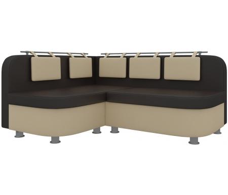 Купить Кухонный диван Mebelico, Уют-2 угловой экокожа бежево-коричневый левый, Россия, бежевый / коричневый