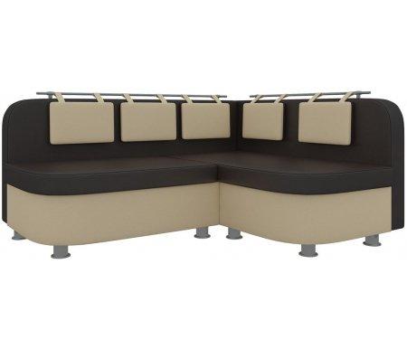 Купить Кухонный диван Mebelico, Уют-2 угловой экокожа бежево-коричневый правый, Россия, бежевый / коричневый