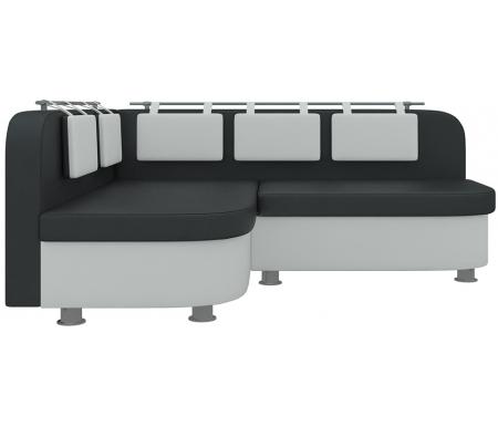 Купить Кухонный диван Mebelico, Уют-2 угловой экокожа черно-белый левый, Россия, черный / белый