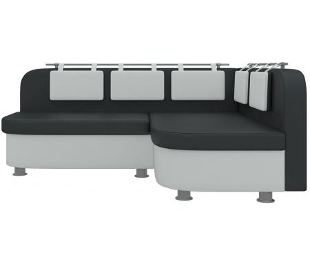 Купить Кухонный диван Mebelico, Уют-2 угловой экокожа черно-белый правый, Россия, черный / белый