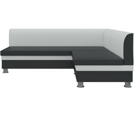 Кухонный диван Mebelico, Уют угловой экокожа бело-черных правый, Россия, белый / черный  - Купить