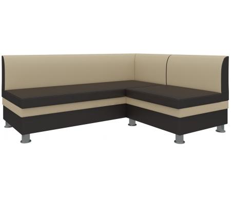 Купить Кухонный диван Mebelico, Уют угловой экокожа бежево-коричневый правый, Россия, бежевый / коричневый