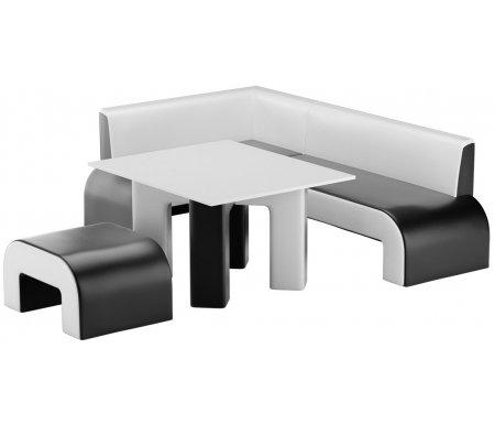Купить Кухонный уголок Mebelico, Кармен экокожа черно-белый левый, Россия, черный / белый