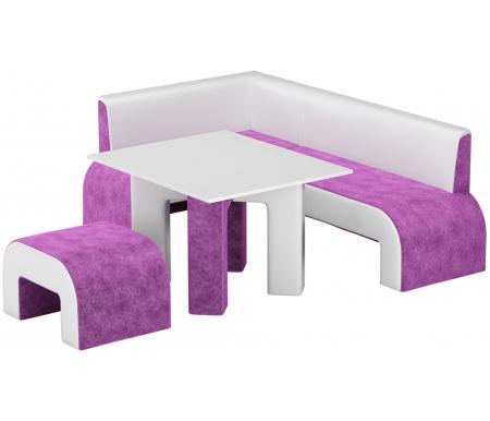 Купить Кухонный уголок Mebelico, Кармен микровельвет фиолетовый-белый левый, Россия, фиолетовый / белый