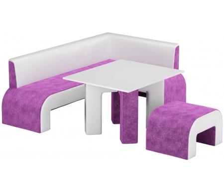 Купить Кухонный уголок Mebelico, Кармен микровельвет фиолетовый-белый правый, Россия, фиолетовый / белый