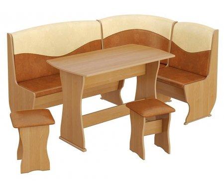 Кухонный уголок Уют-2 Люкс МФ-101.001 ольхаКухонные уголки<br>Под сиденьем скамьи есть ящик для хранения.<br>