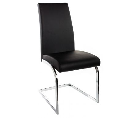 Стул ETERNAСтулья на металлокаркасе<br>Стул ETERNA от фабрики Pranzo представляет из себя вершину комфорта. Он обладает пружинящей основой, а сиденье немного наклонено внутрь для большего удобства сидящего. <br> Каркас стула изготовлен из хромированного металла, обивка выполнена из экокожи на основе хлопка и полиуретана - дышащего и легко моющегося современного материала.<br><br>Цвет: бежевый (SX00)<br>Цвет: чёрный (SX05)<br>Ширина: 50 см<br>Глубина: 62 см<br>Высота спинки: 96 см<br>Материал каркаса: металл<br>Цвет каркаса: хром (CR)<br>Материал обивки: экокожа<br>Цвет обивки: бежевый (SX00), чёрный (SX05)