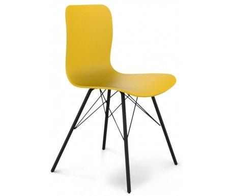Стул SHT-S40 черный муар / желтыйСтулья на металлокаркасе<br>Размер сиденья: 42 см х 47 см х 46 см.<br>Толщина сиденья: 8 мм.<br><br>Устойчивые опоры выполнены из металлической трубы диаметром 18 мм и покрыты порошковой краской. Толщина стенки трубы каркаса: 1,5 мм.<br><br>Максимальная нагрузка: 100 кг.<br>
