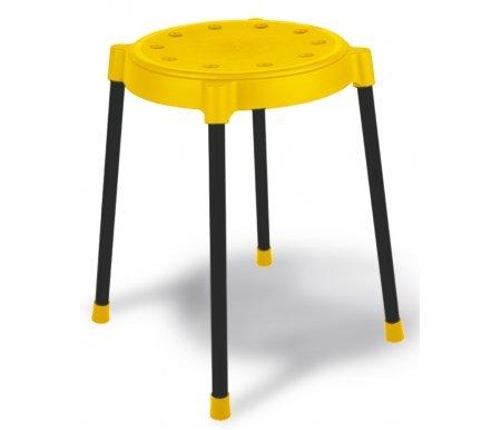 Табурет SHT-S36 черный / желтыйТабуреты<br>Табуреты штабелируемые, что позволяет экономить место при хранении. <br><br> Сидение табурета выполнено из полипропилена толщиной 2,5 мм. <br><br> Размер сиденья (Ш х Г х В): 35 см х 35 см х 4,5 см. D - 30 см. <br><br> Опоры выполнены из металлической трубы диаметром20 мм итолщиной 0,8 мм. <br><br> Опорная поверхность ножек стула не скользит на напольных покрытиях, защищает пол от царапин.<br>