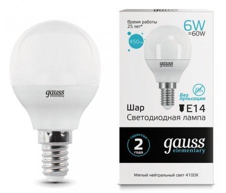 Лампа Gauss светодиодная LED Elementary Globe 6W E14 4100K фото