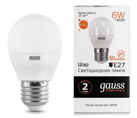 Лампа Gauss светодиодная LED Elementary Globe 6W E27 3000K фото